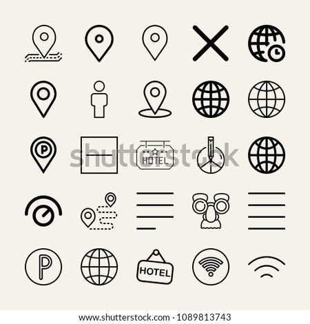 Set of 25 signs outline icons such as internet, worldwide, man, mask, placeholder, parking, knob, close, substract, left alignment, peace, justify, wifi, hotel, wireless