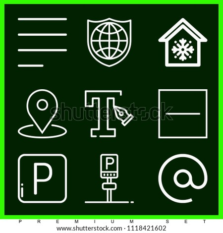 Set of 9 signs outline icons such as parking, substract, left alignment, text, cooling, world, email