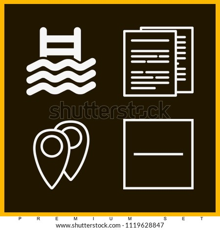Set of 4 signs outline icons such as substract, documents, pool stairs