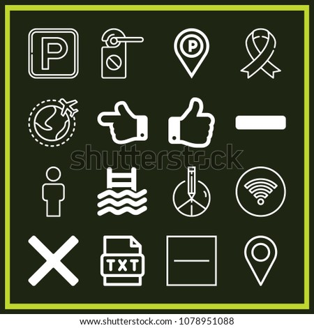Set of 16 signs outline icons such as thumbs up, hand pointing to left direction, man, placeholder, world, parking, knob, substract, cancel, minus symbol, peace, text, ribbon