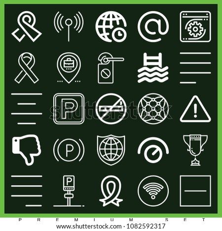 Set of 25 signs outline icons such as wifi, thumb down, parking, knob, no smoking, danger, substract, left alignment, arroba, placeholder, coding, center alignment