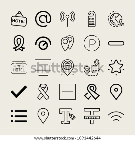 Set of 25 signs outline icons such as wifi, world, parking, knob, list, checked, minus, substract, arroba, placeholder, center alignment, text, ribbon, hotel, wireless