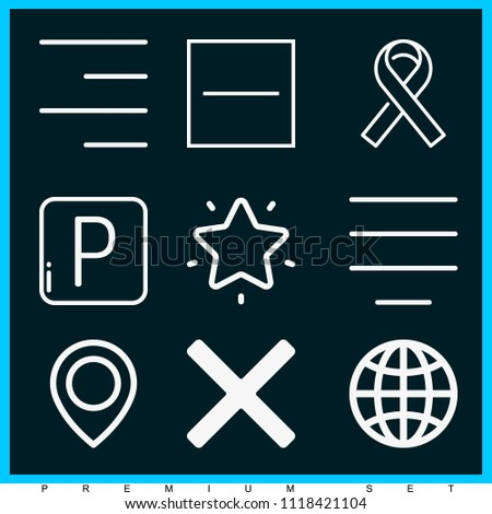 Set of 9 signs outline icons such as worldwide, parking, substract, cancel, right alignment, center alignment, ribbon, favorites