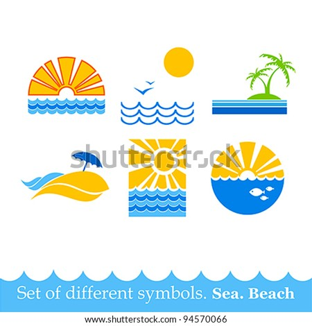 set of signs sea beach. vector image
