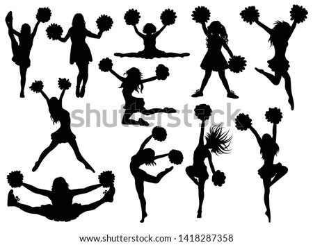 Set of silhouette cheerleaders. Collection of black and white silhouettes of girls from a support group. Vector illustration of cheerleaders. ストックフォト ©