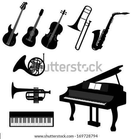 set of silhouette classical and