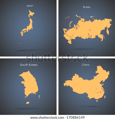 set of silhouette countries