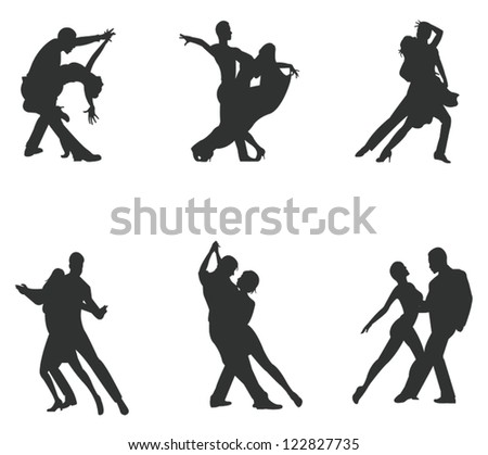 Set of silhouette dancing couple, create by vector