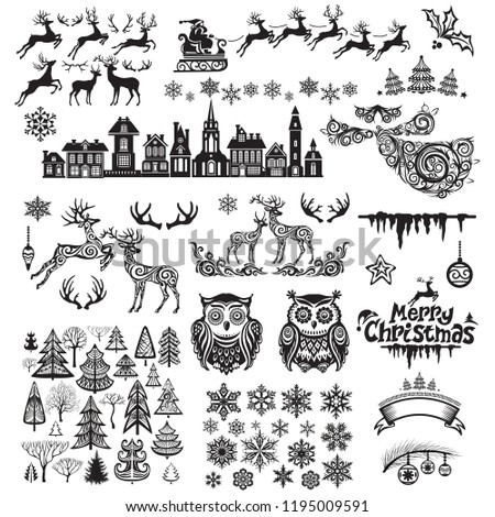 Set of silhouette decoration for Christmas and New year #1195009591
