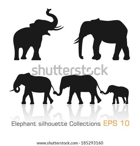 set of silhouette elephants in