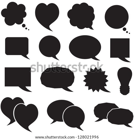 Set of silhouette figured speech bubbles