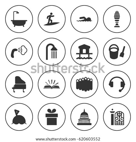 set of 16 silhouette filled