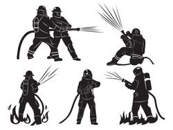 Set of silhouette firefighters. Collection of firefighters in various poses firefighting with hose. Dangerous job. Vector illustration isolated on white background.