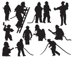 Set of silhouette firefighters. Collections of firefighters in various places of fire fighting with equipment. Vector  illustration on a white background.