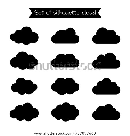 Set of silhouette flat style clouds. Vector illustration.