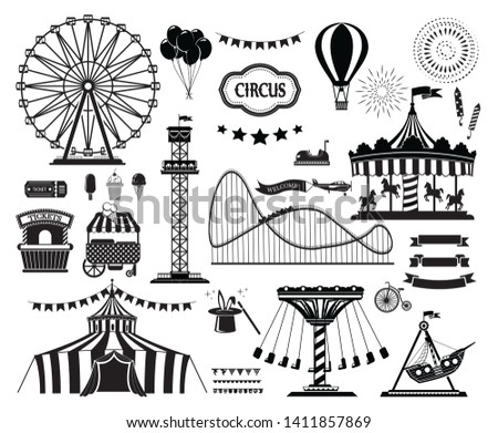Set of silhouette icons of circus, amusement park. Carnival parks carousel attraction, fun rollercoaster and ferris wheel attractions.