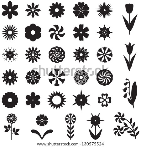 Set of 33 silhouette images of different flowers