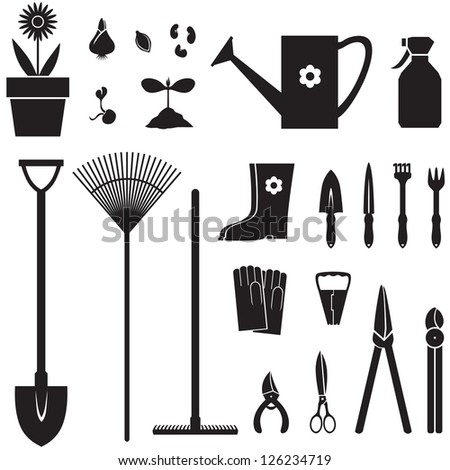 Set of silhouette images of garden equipment