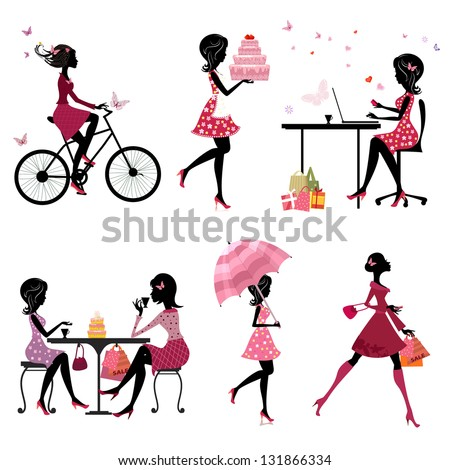 set of silhouette of beautiful