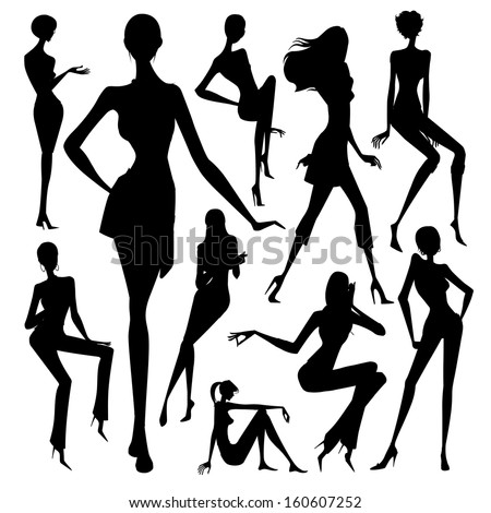 set of silhouette of the woman