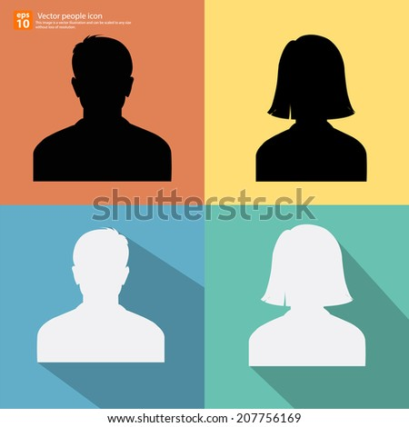 Set of Silhouette people man and woman avatar profile pictures with shadow on color vintage background