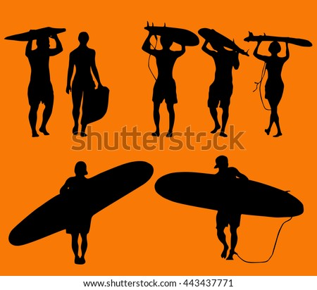 set of silhouette surfers over