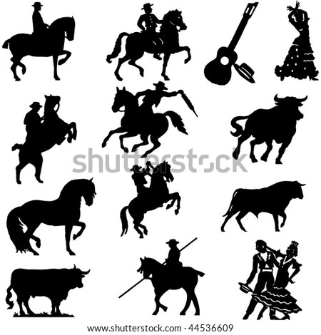 Set of silhouette typical spanish flamenco vector illustration  Bullfighter, bull