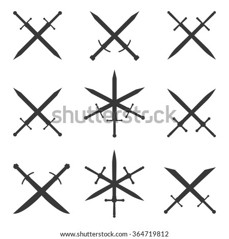 Set of silhouettes combat crossed swords on a white background