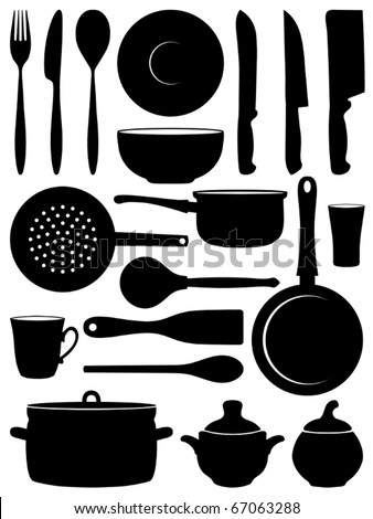 Set of silhouettes dishes. Vector illustration. - stock vector