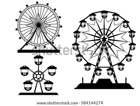 set of silhouettes ferris wheel