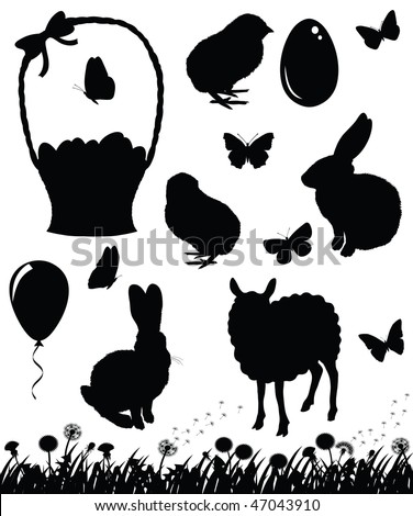Set of silhouettes for Easter.