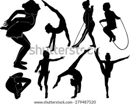 Vector Fitness Girl In Gymnastics