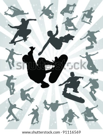 Set of silhouettes jump skate on a gray background-vector