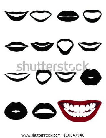 Set of silhouettes lips-vector