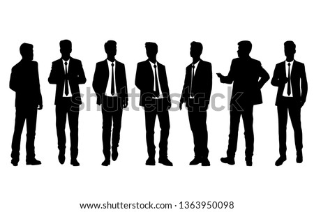 Set of silhouettes man standing, cartoon character, business people group in black  suits, vector silhouettes and flat designe icon isolated on white