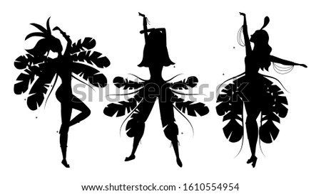 Set of silhouettes of Brazilian samba dancers. Carnival girls are wearing a festival costume and dancing.Flat style. Vector illustration