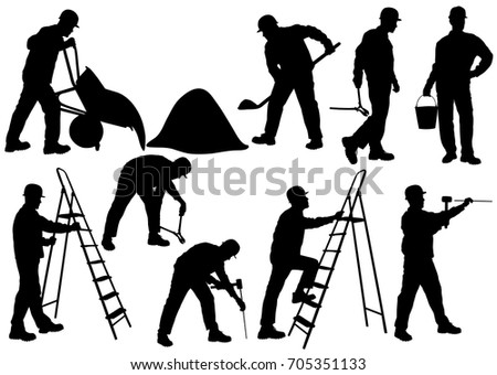 Set of silhouettes of builder in helmet isolated on white background. Icons of man working with different instruments and tools: ladder, pliers, bucket, bricks, burrow, hammer.