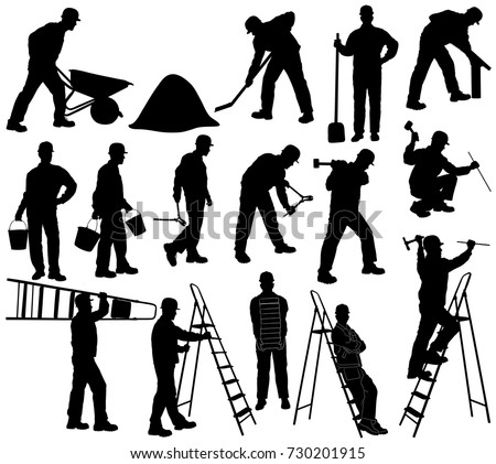 Set of silhouettes of builder men in helmet with isolated on white background. Icons of man working with  instruments: ladder, pliers, bucket, bricks, burrow, hammer.
