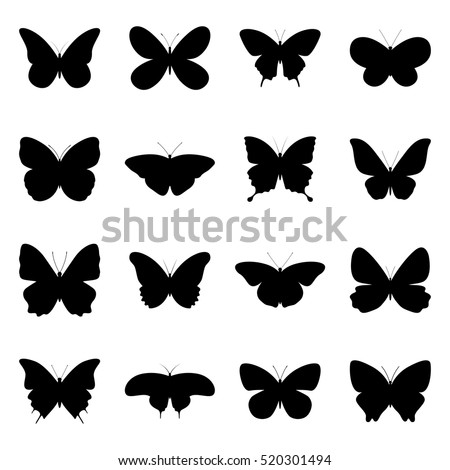 set of silhouettes of