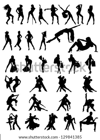 set of silhouettes of  dancing