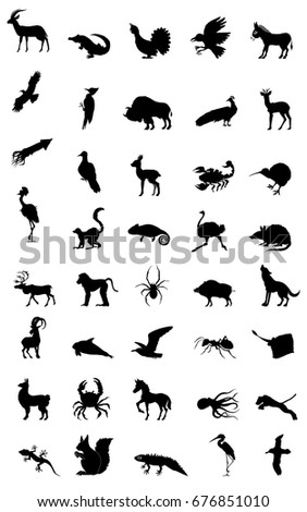set of silhouettes of different