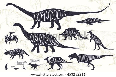 set of silhouettes of dinosaurs