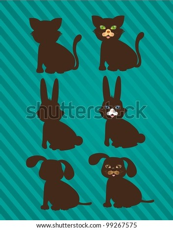 set of silhouettes of domestic animals in two styles