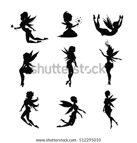 Set of silhouettes of fairies isolated on white background. Magical fairies in the cartoon style. Vector illustration.