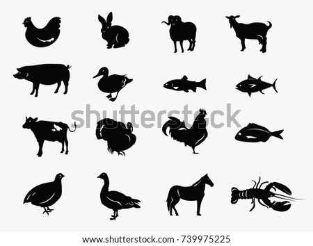 Set of silhouettes of farm animals. Collection of stylized meat animals and fish. Set of black farmer logos.