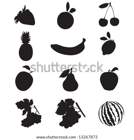 Set of 12 silhouettes of fruit.