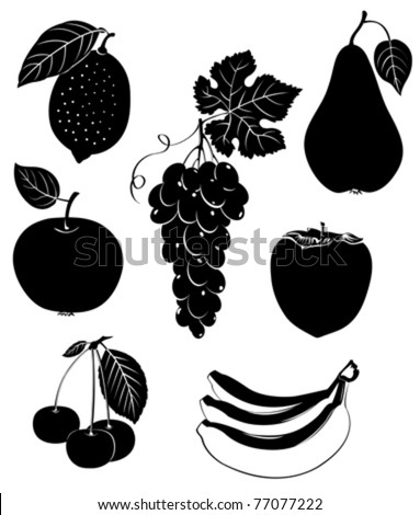 Set of silhouettes of fruit. Vector illustration.