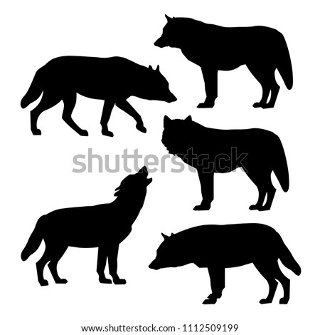 set of silhouettes of gray