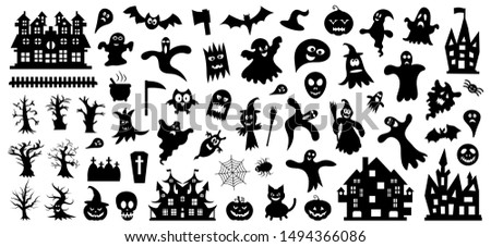 Set of silhouettes of Halloween on a white background. Vector illustration..