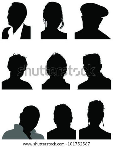 set of silhouettes of heads 2, vector